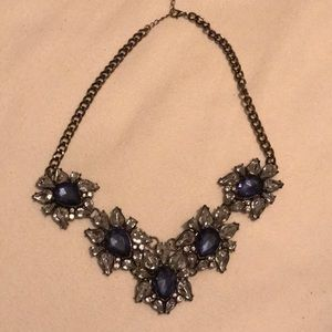 Blue and Clear Crystal Necklace